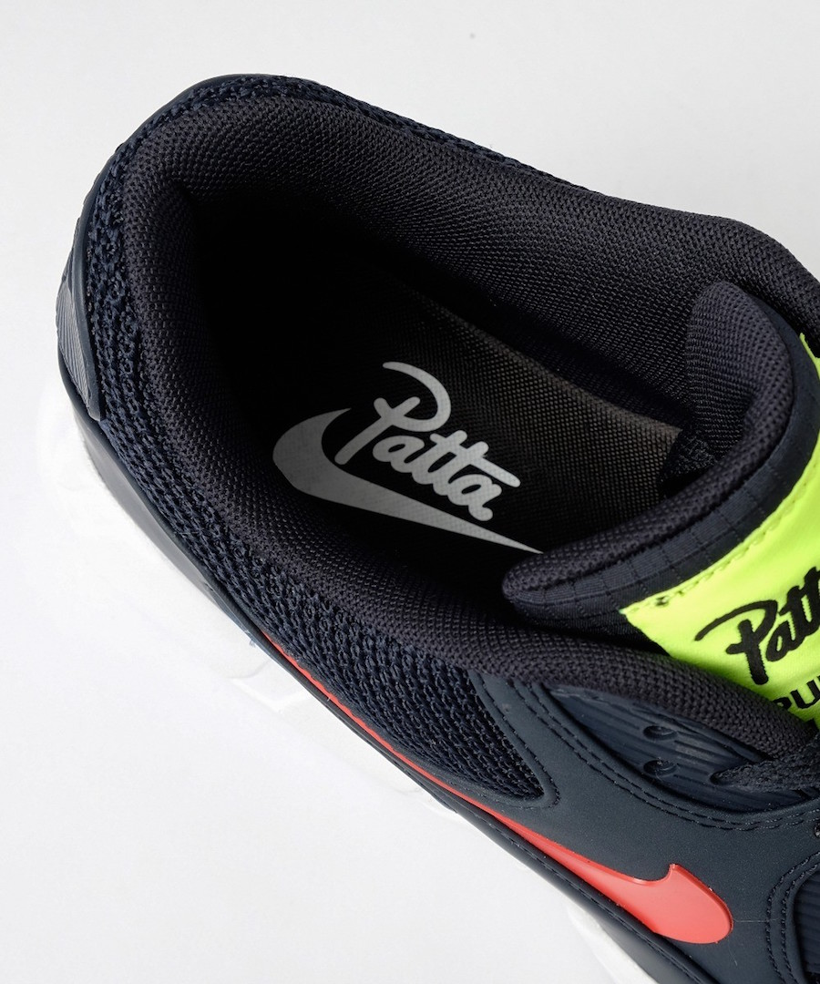Patta Nike Air Max 90 95 Dark Obsidian Habanero Red White CJ4741-400 Release Date