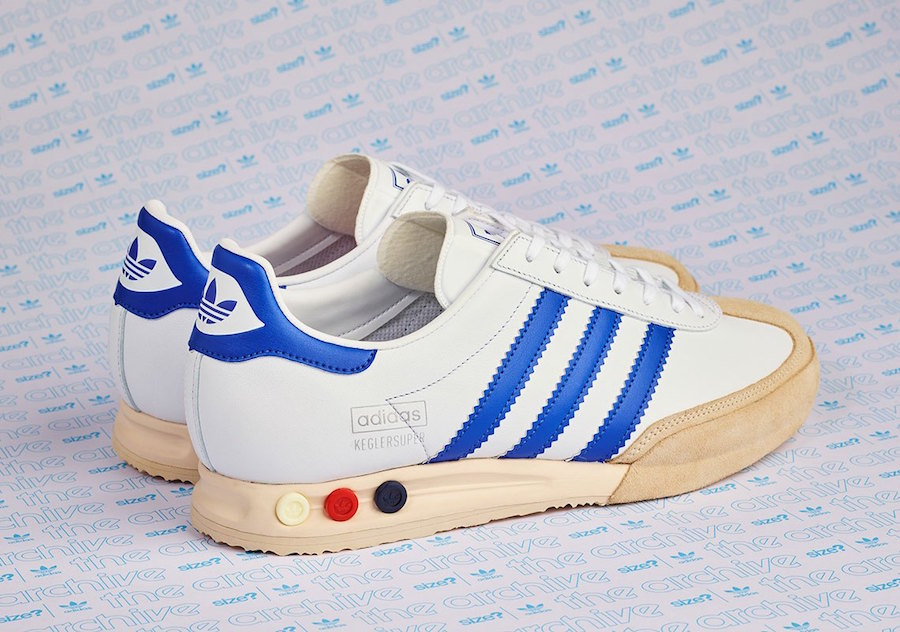 size? adidas Kegler Super White Blue Release Date