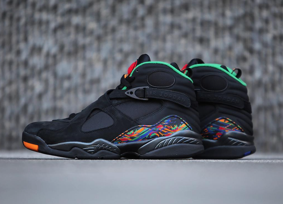 dd9947ccdce142 Air Jordan 8 Air Raid Black Light Concord Aloe Verde University Red  305381-004