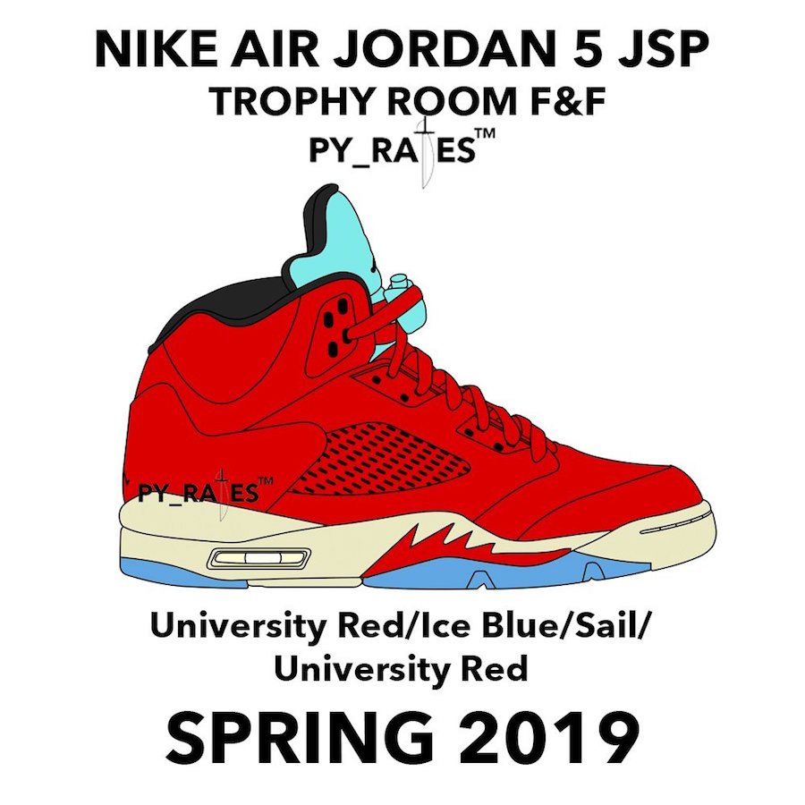 Trophy Room Air Jordan 5 JSP University Red Ice Blue Sail University Red