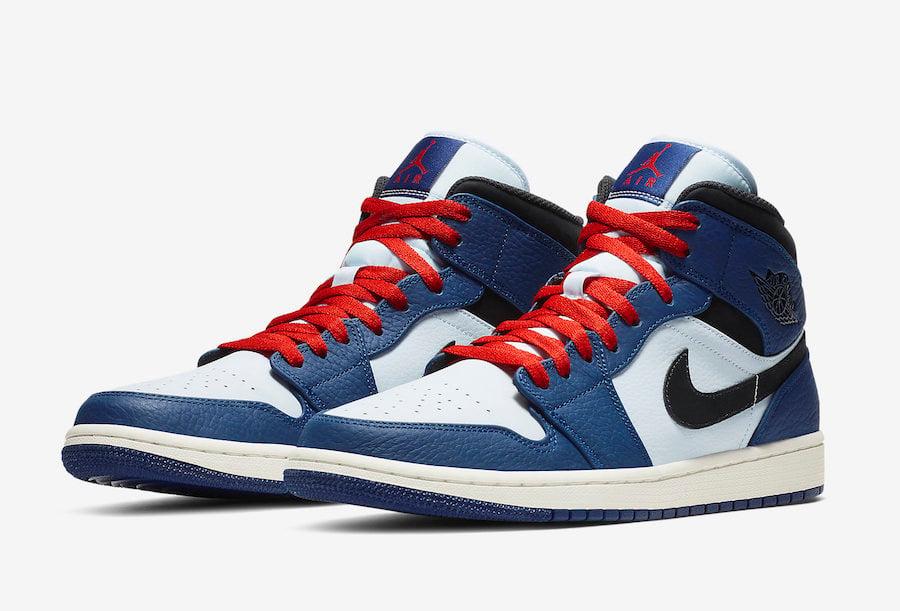 buy online c33d5 e4ae4 Air Jordan 1 Mid 852542-400 Blue, Red, White | SneakerFiles