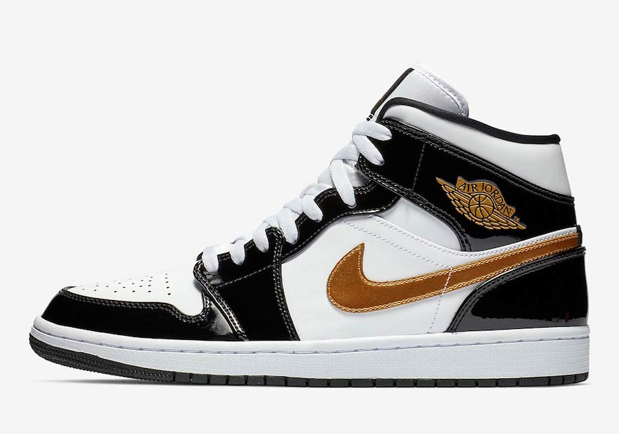 Air Jordan 1 Mid Patent Leather Black Gold 852542-007