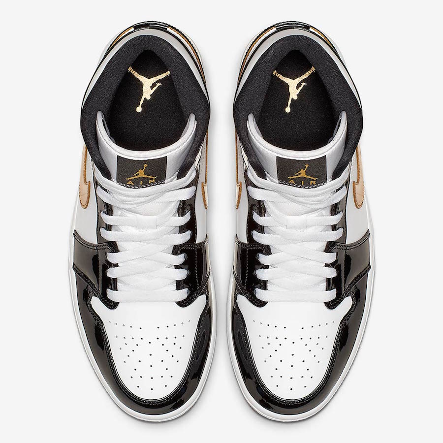Air Jordan 1 Mid Patent Leather Black Gold 852542-007  c9daaedf28