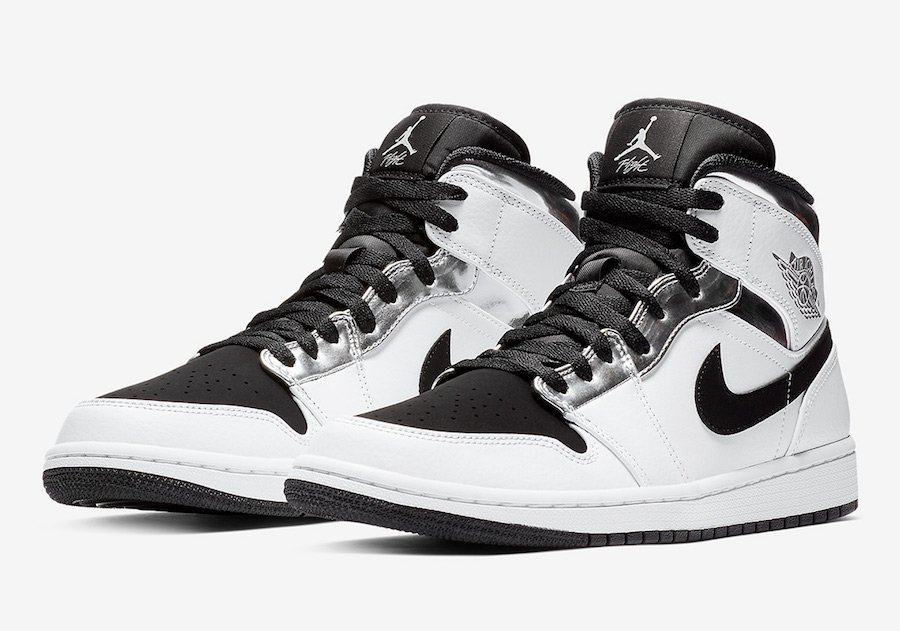 Air Jordan 1 Mid White Silver Black 554724-121