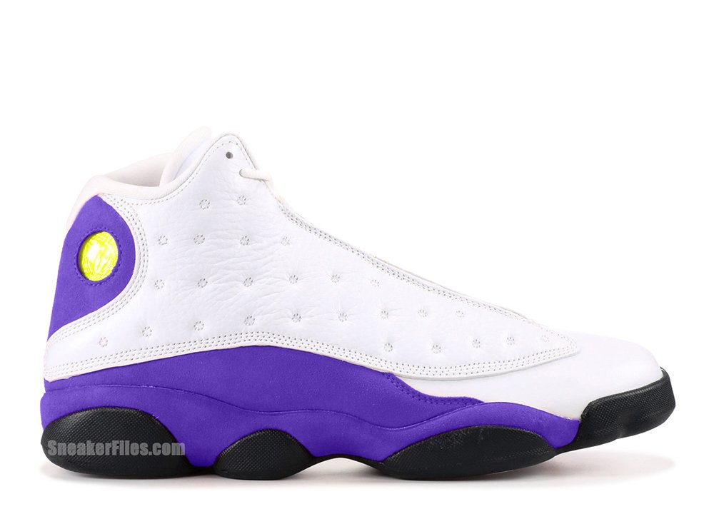 71934ae301d Air Jordan 13 Lakers White Black Court Purple University Gold 414571-105  Release Date