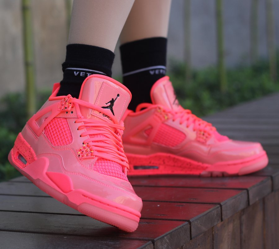 Air Jordan 4 NRG Hot Punch Black Volt Womens AQ9128-600