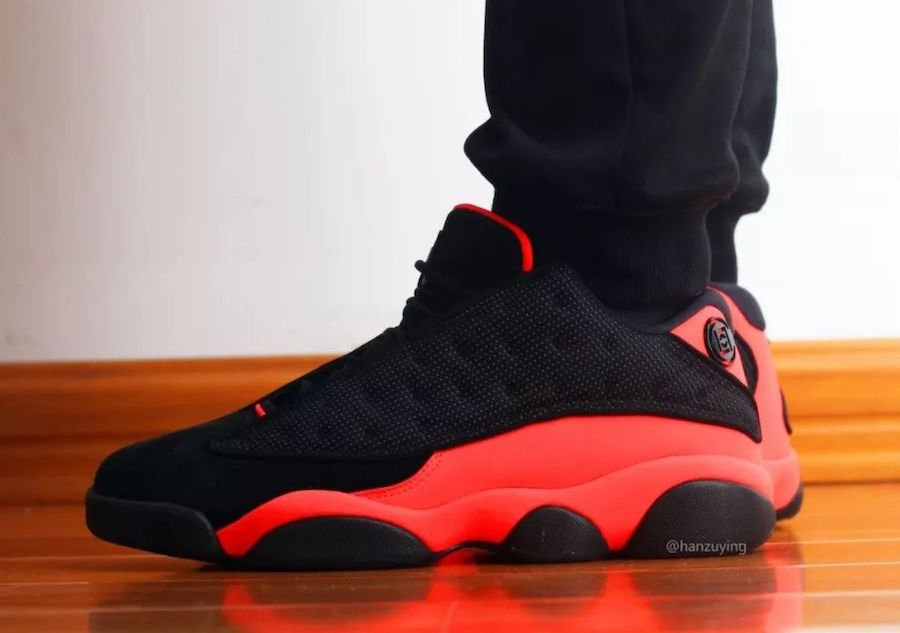 Clot Air Jordan 13 Low Black Infrared On Feet