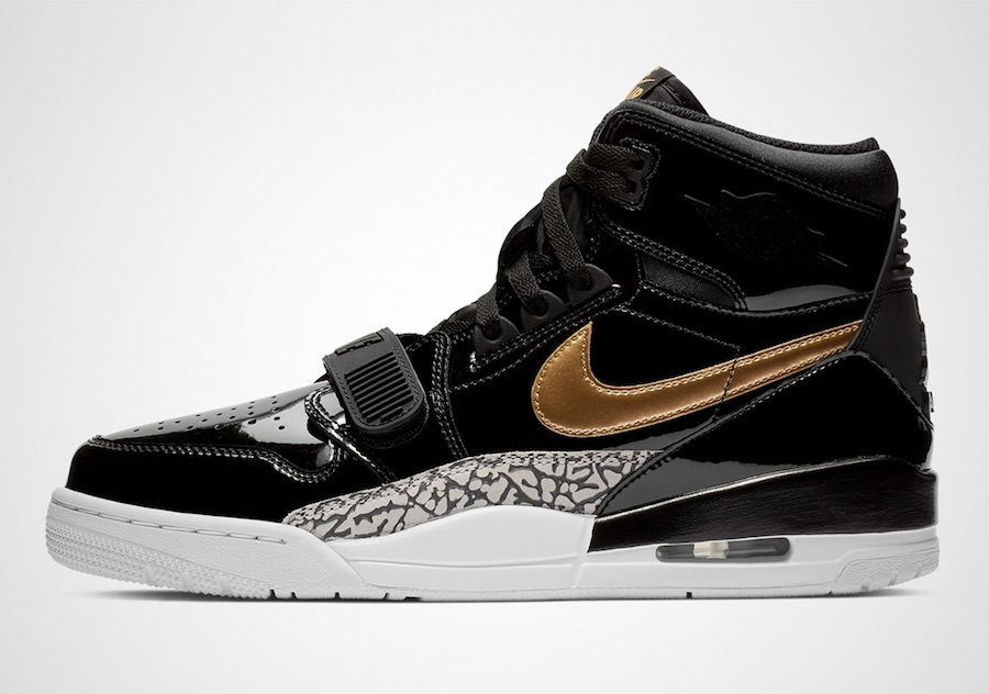 Jordan Legacy 312 Black Gold Patent Leather AV3922-007