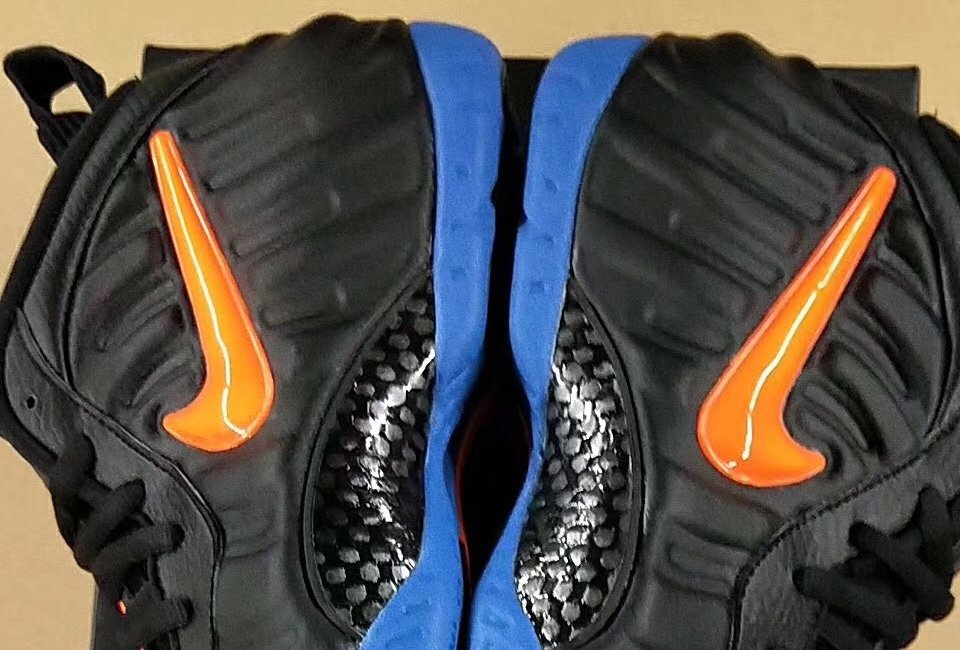 a7195f163b65f Nike Air Foamposite Pro Knicks Black Battle Blue Total Orange 624041-010  Release Date Info