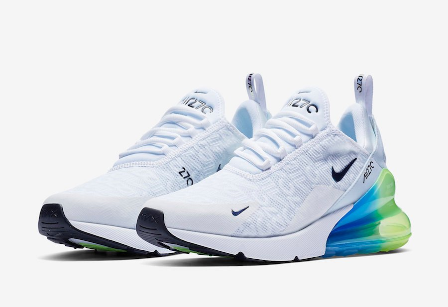 newest 74a43 05876 Nike Air Max 270 White Explosion Green Yellow AQ9164-100 ...
