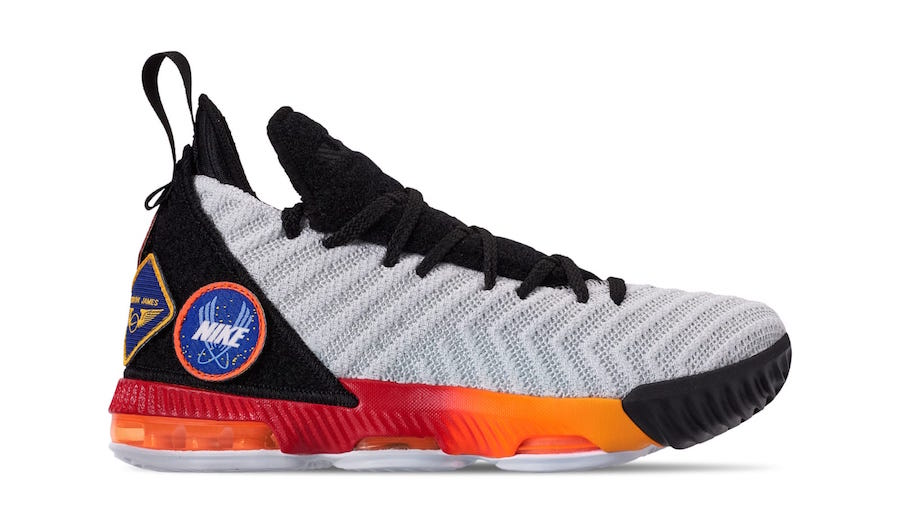Nike LeBron 16 Kids White Laser Orange AQ2465-188 Patches