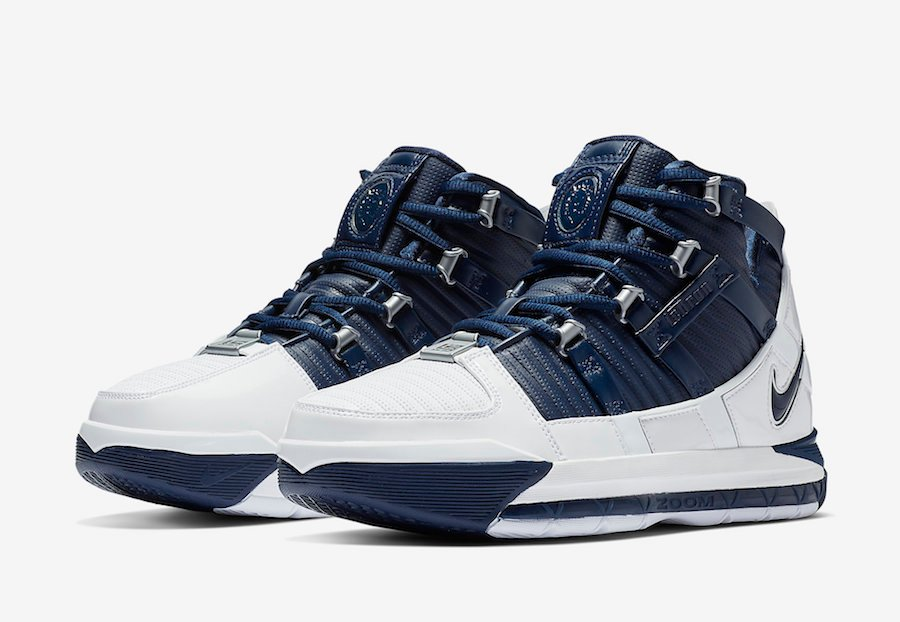 the best attitude 55984 a517e Nike LeBron 3 White Navy AO2434-103 Release Date | SneakerFiles