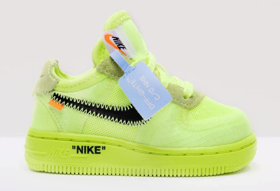 Off-White Nike Air Force 1 Kids Sizing Volt Release Date