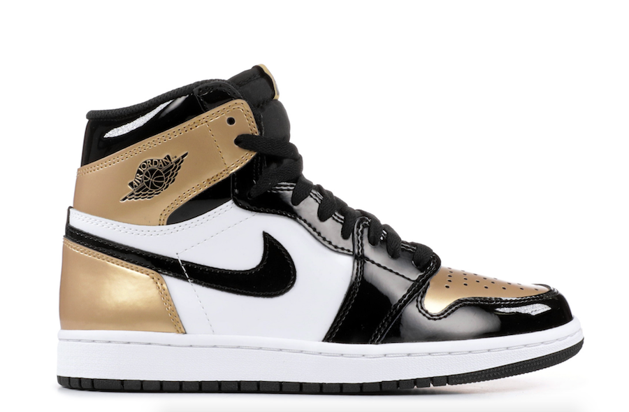 best service 02aed 06cdb Air Jordan 1 WMNS Gold Toe Black Metallic Gold White Release ...