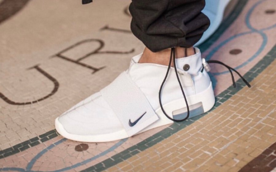 Nike Air Fear of God Moccasin Light Bone On Feet