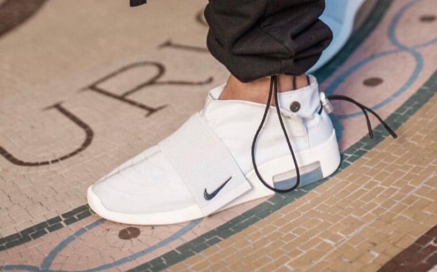 more photos ab99d e3580 Nike Air Fear of God Moccasin Light Bone On Feet