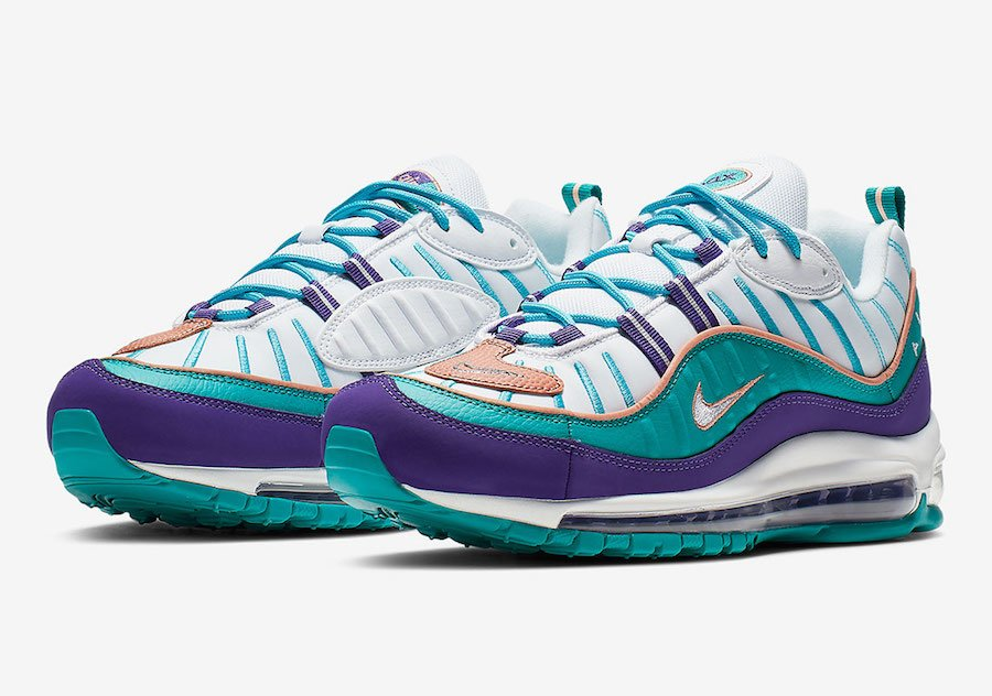 Nike Air Max 98 Hornets Purple Teal 640744-500 Release Date