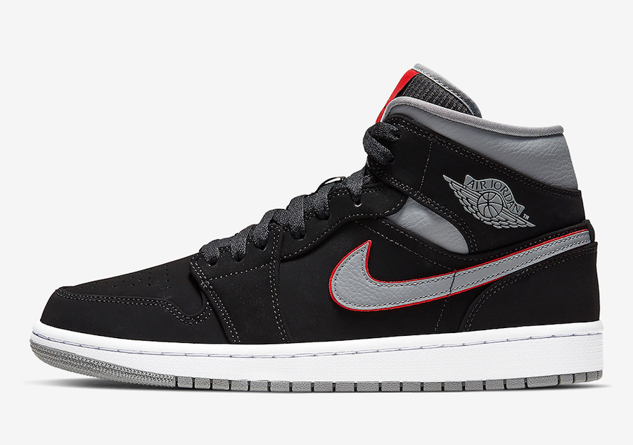 Air Jordan 1 Mid Black Grey Red 554724-060 Release Date