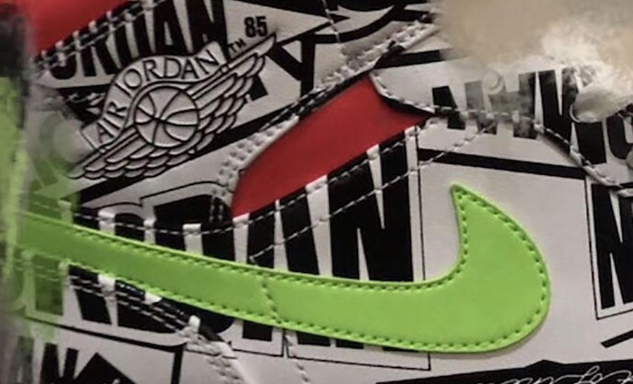 Air Jordan 1 Mid Print White Black Green Red Release Date