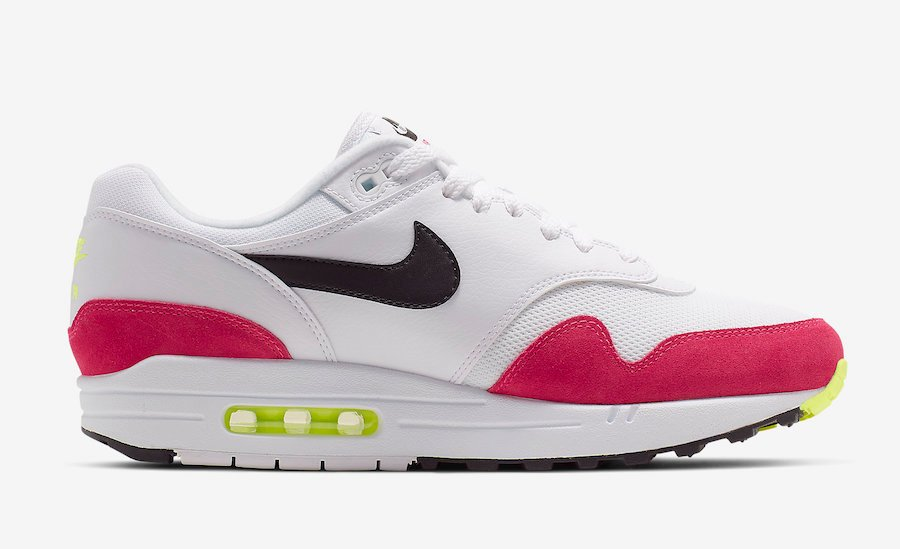 huge discount 65d30 de2f7 Nike Air Max 1 White Black Volt Rush Pink AH8145-111 Release Date