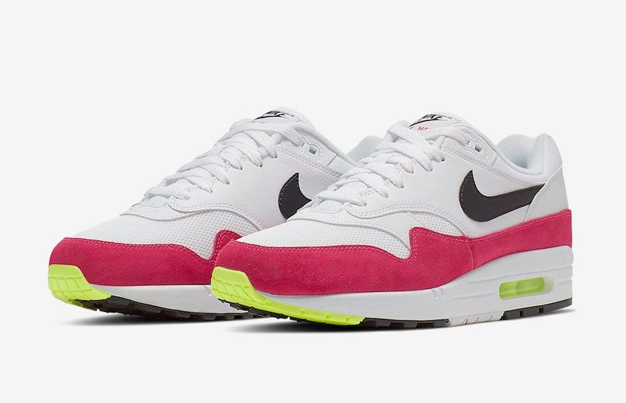 Nike Air Max 1 White Black Volt Rush Pink AH8145-111 Release Date ...