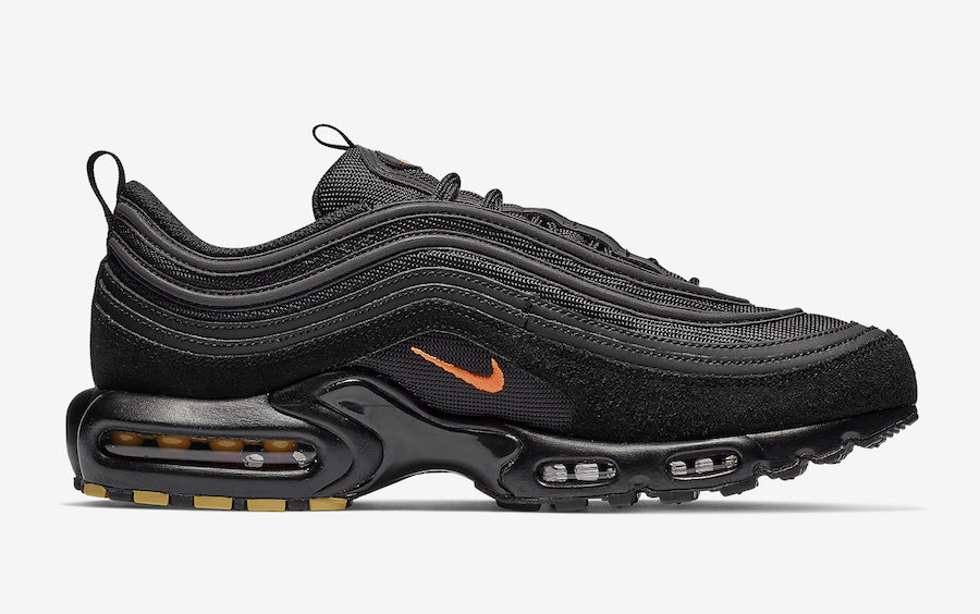 Nike Air Max Plus 97 In Black And Orange With Yellow Accents