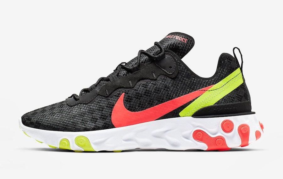 Nike React Element 55 Black Crimson Volt CJ0782-001 Release Date