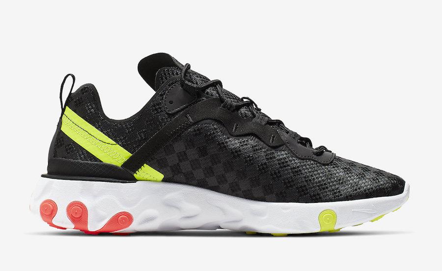 b359001b5e610 Nike React Element 55 Black Crimson Volt CJ0782-001 Release Date ...