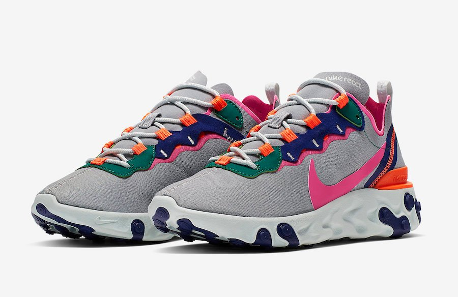 buy popular cf2ce b0b8a Nike React Element 55 Wolf Grey Laser Fuchsia Hyper Crimson BQ2728-006  Release Date
