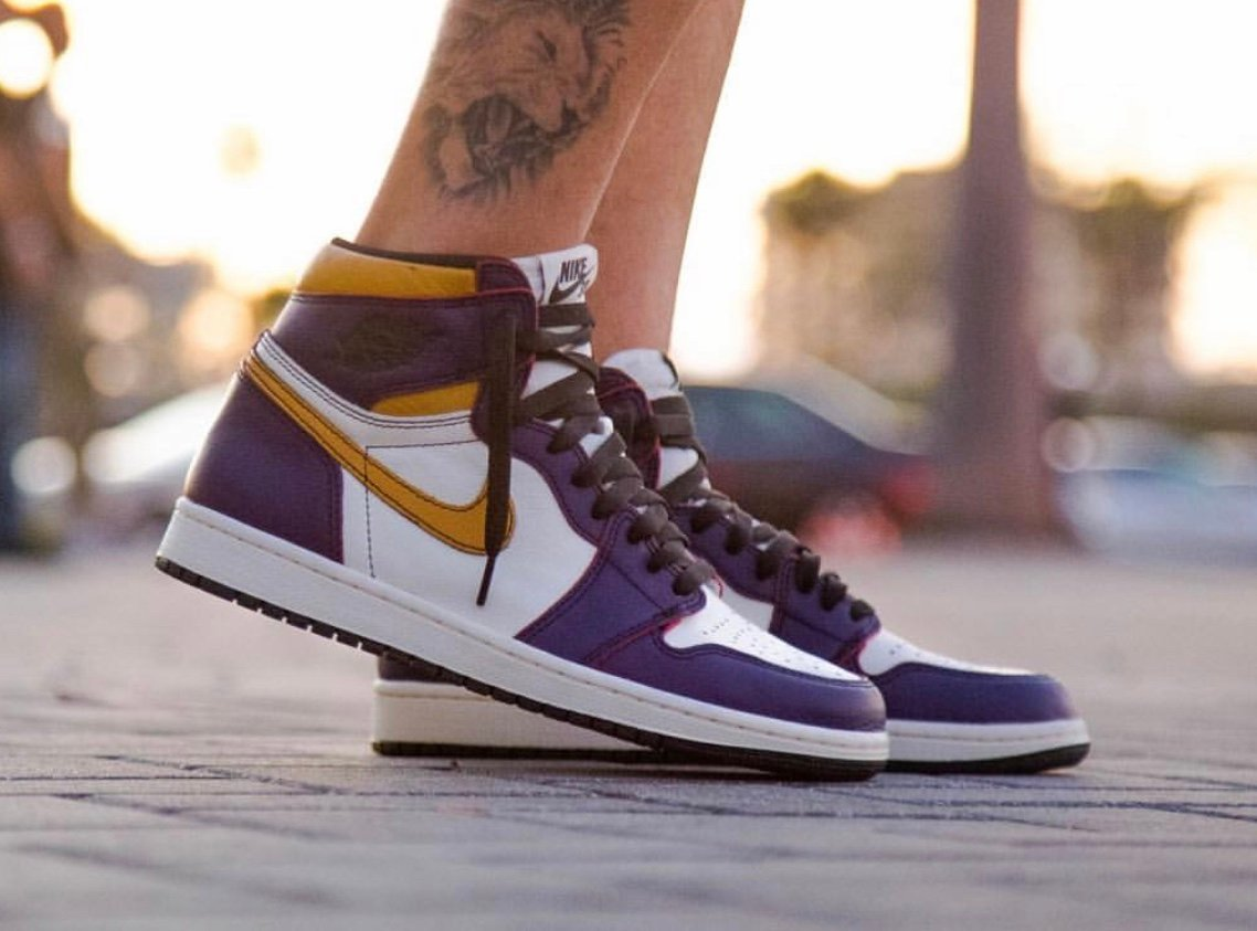 Nike SB Air Jordan 1 Lakers Court Purple Sail University Gold Black CD6578-507 Release Date