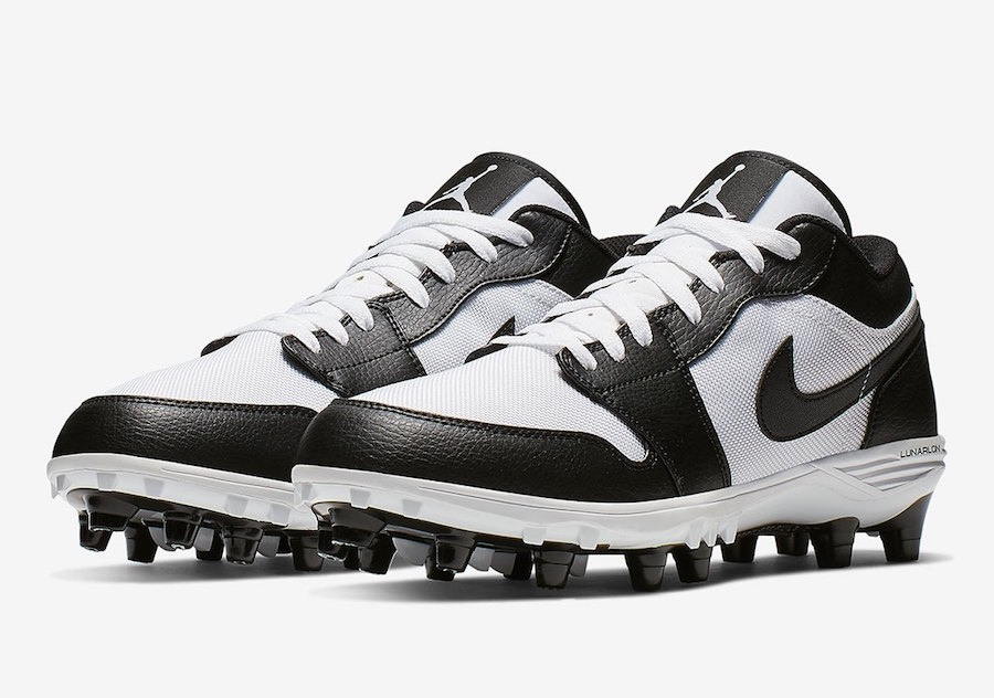 Air Jordan 1 Low Football Cleats White Black