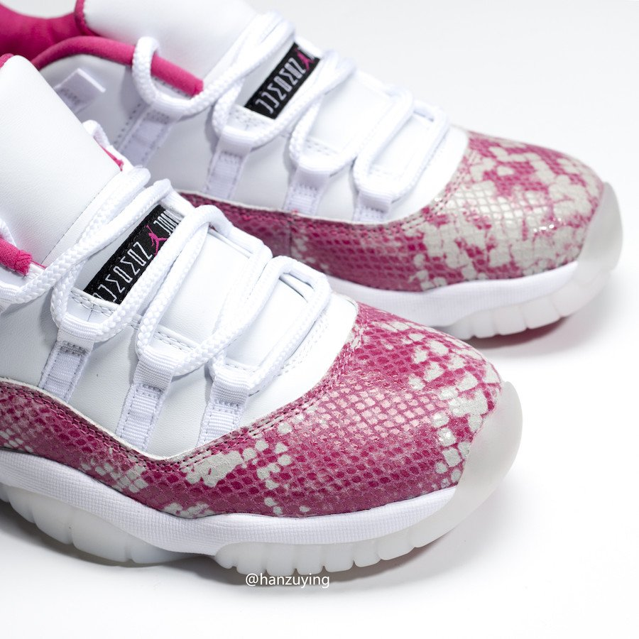 Air Jordan 11 Low Pink Snakeskin White Watermelon Black AH7860-106 Release Date