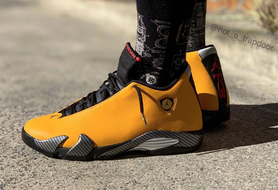 Air Jordan 14 Reverse Ferrari BQ3685-706 On Feet