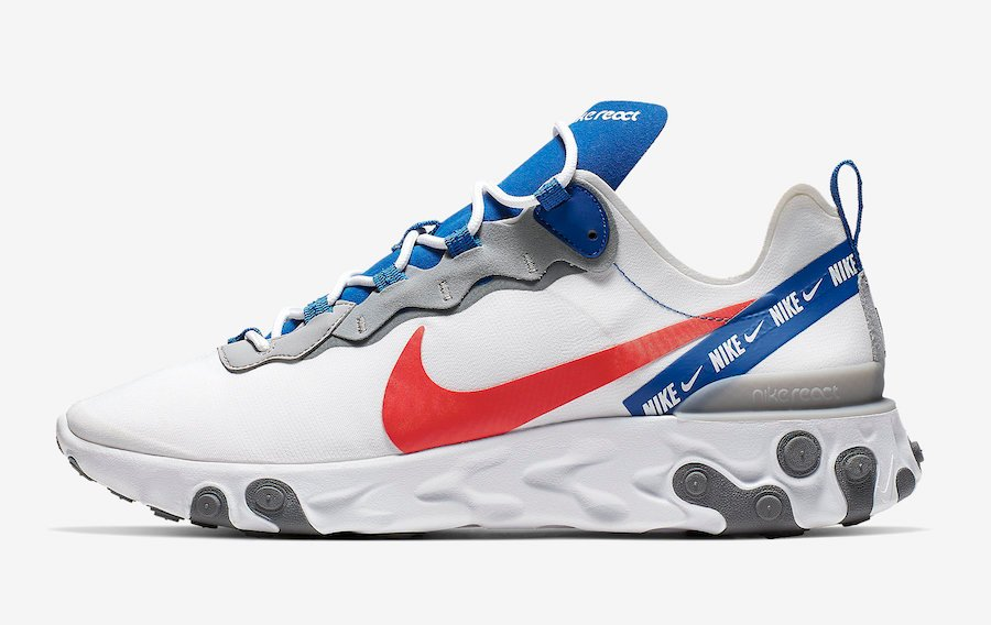 Nike React Element 55 White Game Royal Habanero Red CD7340-100 Release Date