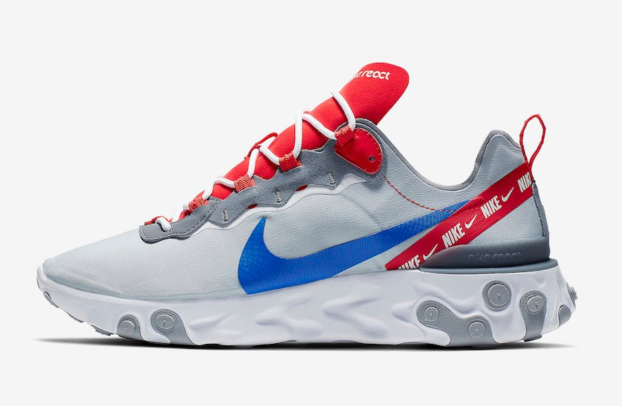 Nike React Element 55 Wolf Grey Habanero Red Game Royal CD7340-001 Release Date