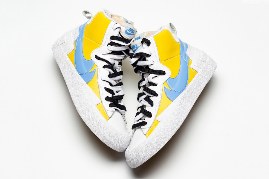 Monje Caliza Subtropical  Sacai Nike Blazer Mid White Yellow Blue Release Date | SneakerFiles