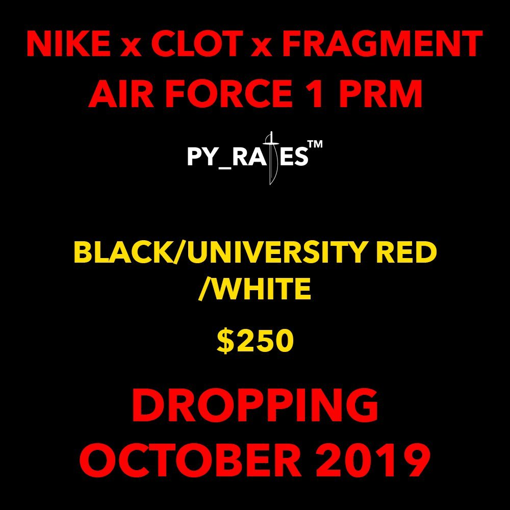 Fragment Clot Nike Air Force 1 Premium Black University Red White Release Date