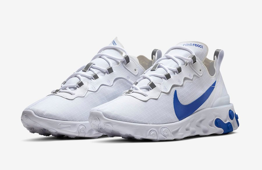 Nike React Element 55 White Game Royal BQ6167-100 Release Date