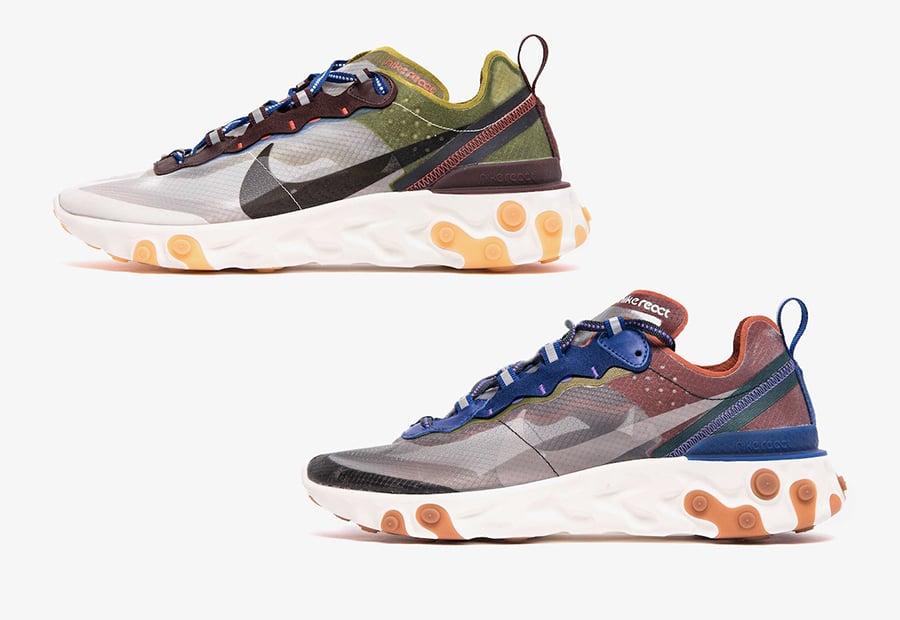 Nike React Element 87 Dusty Peach AQ1090-200 Moss AQ1090-300 Release Date