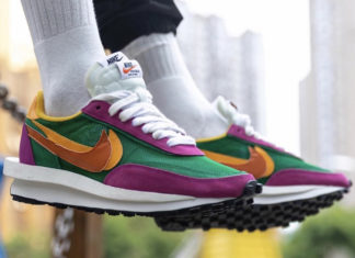 Sacai Nike LDWaffle Pine Green Clay Orange Del Sol BV0073-301 On Feet Release Date