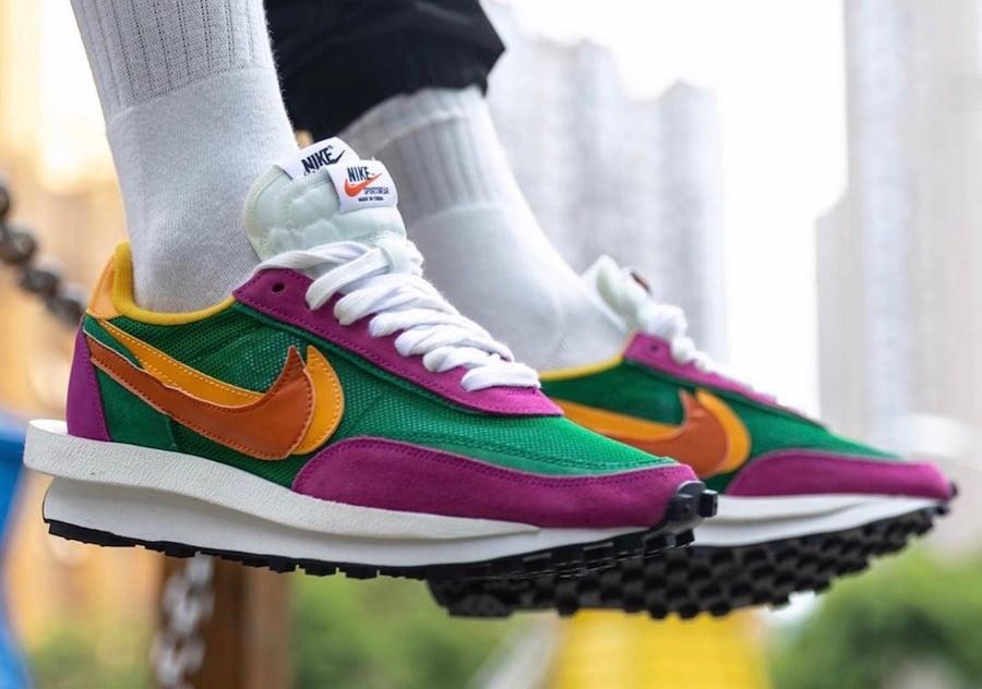 Sacai Nike LDWaffle Pine Green Clay Orange Del Sol BV0073-301 On Feet Release Date