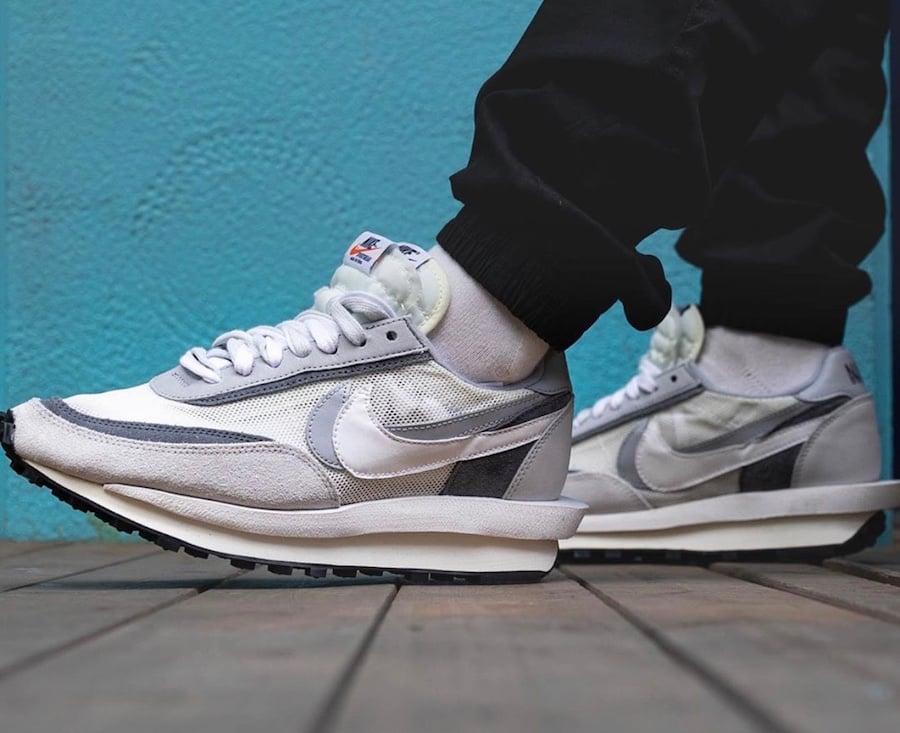 Sacai Nike LDWaffle White Wolf Grey BV0073-100 On Feet Release Date