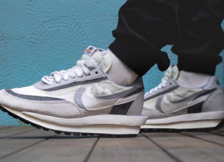 Sacai Nike LDWaffle White Wolf Grey BV0073-100 On Feet Release Date