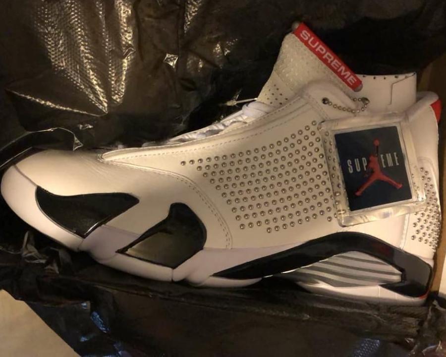 Supreme x Air Jordan 14 White Black Red Release Info