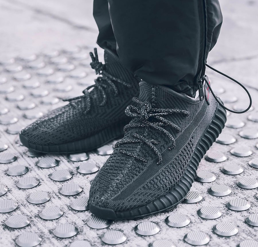adidas Yeezy Boost 350 V2 Black On Feet