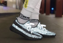 adidas Yeezy Boost 350 V2 Black Reflective On Feet