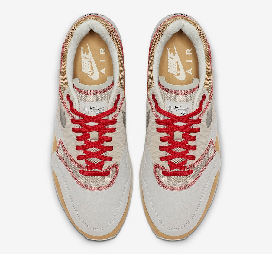 newest e8d03 215c9 Nike Air Max 1 Inside Out Club Gold Black Pure Platinum Desert Sand Sail  University Red