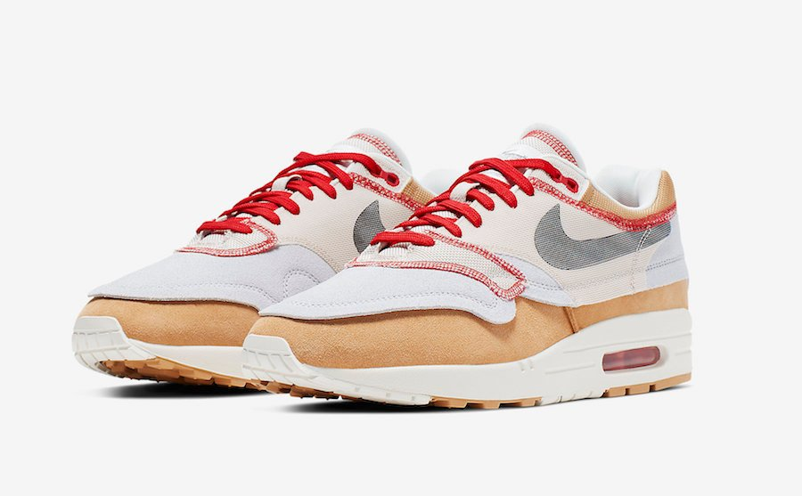 Nike Air Max 1 Inside Out Club Gold Black Pure Platinum Desert Sand Sail University Red 858876-713 Release Details