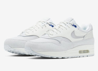 info for 66495 c5c36 Nike Air Max 1 Premium in Pure Platinum and Racer Blue