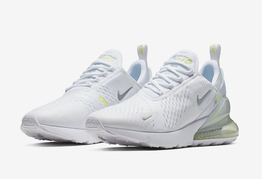 c88d69ec27 Nike Air Max 270 White Volt Metallic Silver CI2671-100 Release Info ...
